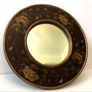 Round Decorative Mirror with Wood Frame